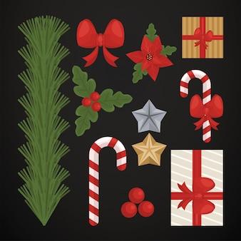Vrolijke kerstkaart met vastgestelde pictogrammen