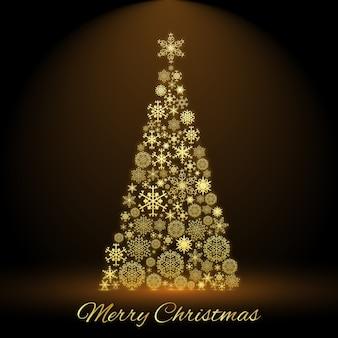 Vrolijke kerstkaart met versierde dennenboom in het midden