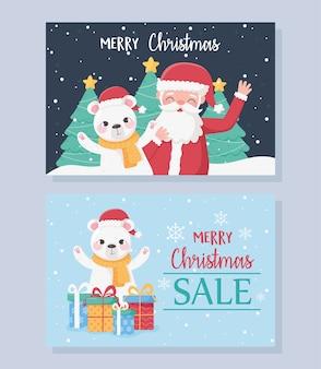 Vrolijke kerstkaarten met kerstman draagt gits en bomen illustratie
