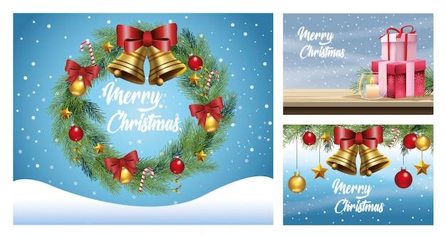 Vrolijke kerstkaarten met sneeuwlandschappen en decoraties vector illustratie ontwerp