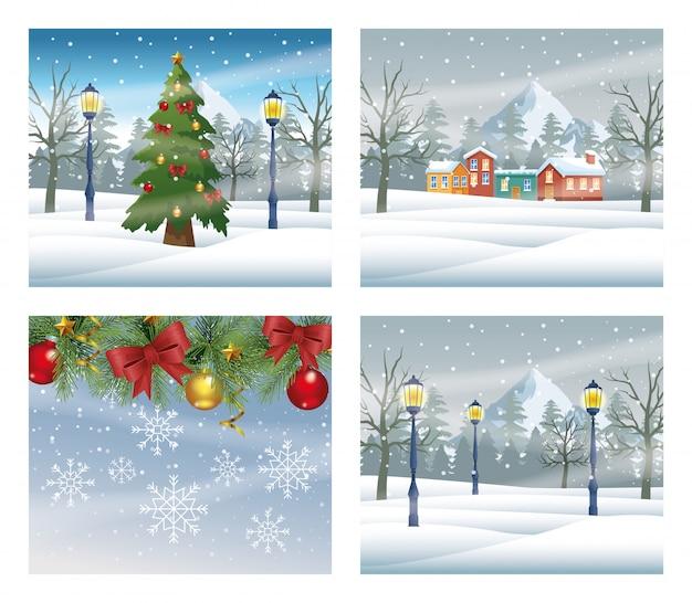 Vrolijke kerstkaarten met sneeuwlandschappen scènes vector illustratie ontwerp