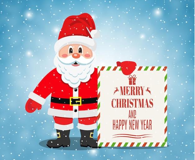 Vrolijke kerstman die zich met kerstmisbanner bevindt
