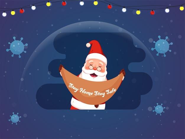 Vrolijke kerstman holding ribbon of stay home blijf veilig bericht om covid-19-infectie te voorkomen