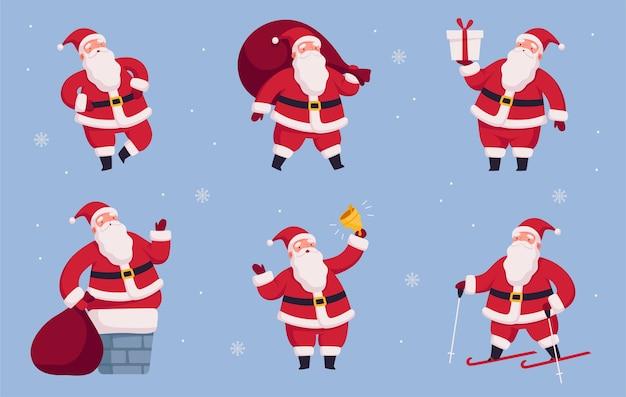 Vrolijke kerstman in verschillende poses en situaties instellen kerstkarakter met cadeautas en bel vectorillustratie