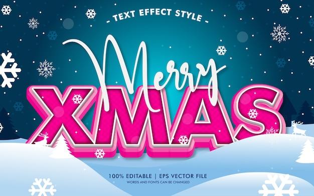 Vrolijke kerstmis 3d-tekst effecten stijl