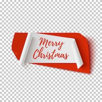 Vrolijke kerstmis, abstracte rode en witte banner geïsoleerde transparante achtergrond. wenskaart, poster of brochure sjabloon.