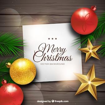 Vrolijke kerstmis achtergrond met decoratie