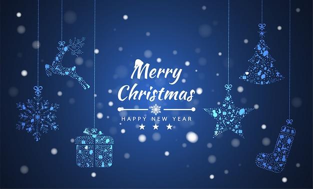 Vrolijke kerstmis achtergrond met element collectie banner