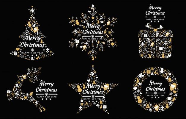 Vrolijke kerstmis achtergrond met element collectie