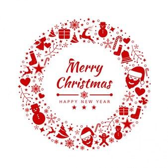 Vrolijke kerstmis achtergrond met element pictogrammen banner, sneeuwvlokken.