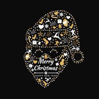 Vrolijke kerstmis achtergrond met element santa pictogrammen banner. vector illustratie