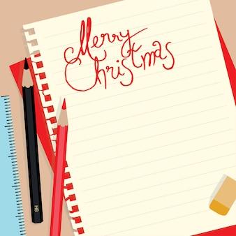 Vrolijke kerstmis achtergrond op notitie papier