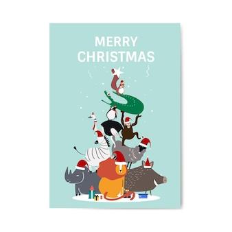 Vrolijke kerstmis briefkaart ontwerp vector