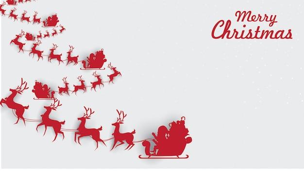 Vrolijke kerstmis de kerstman op de hemel met rendierar