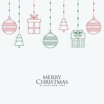 Vrolijke kerstmis decoratieve elementen die achtergrond hangen