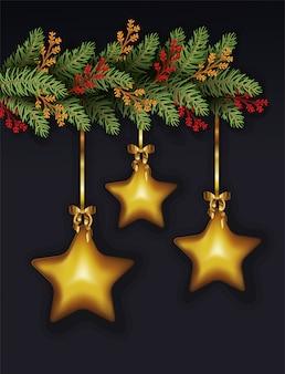 Vrolijke kerstmis doorbladert en sterren die decoratie hangen