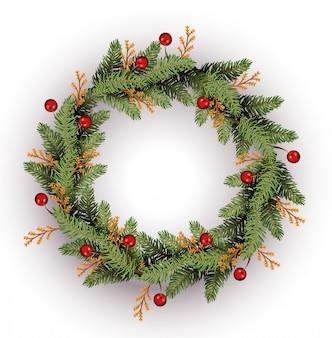Vrolijke kerstmis doorbladert kroon en bessendecoratie