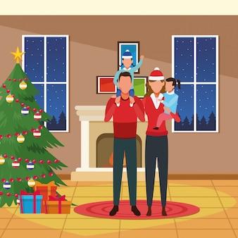 Vrolijke kerstmis en familieillustratie