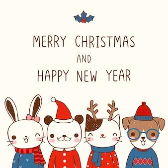 Vrolijke kerstmis en gelukkig nieuw jaar met schattige dieren