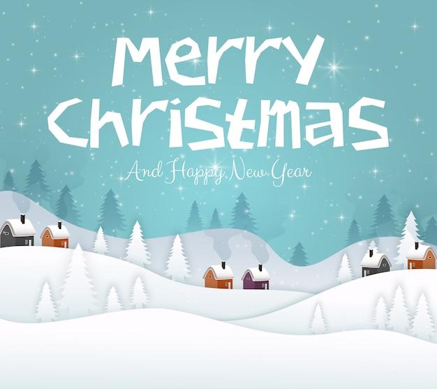 Vrolijke kerstmis en gelukkig nieuwjaar 2019 op blauwe hemelachtergrond