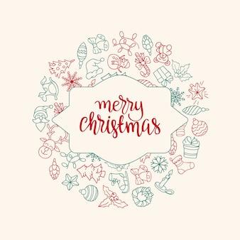 Vrolijke kerstmis en gelukkig nieuwjaar achtergrond met gekleurde pictogrammen.