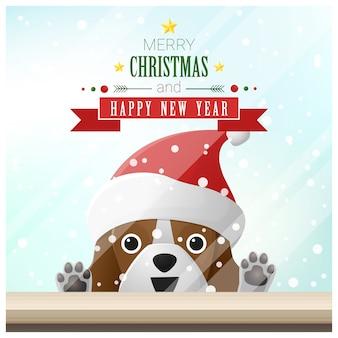 Vrolijke kerstmis en gelukkig nieuwjaar achtergrond met hond
