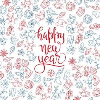 Vrolijke kerstmis en gelukkig nieuwjaar achtergrond met pictogrammen.