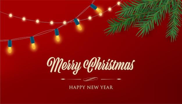 Vrolijke kerstmis en gelukkig nieuwjaar achtergrond.