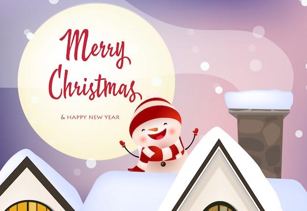 Vrolijke kerstmis en gelukkig nieuwjaar banner met lachende sneeuwpop