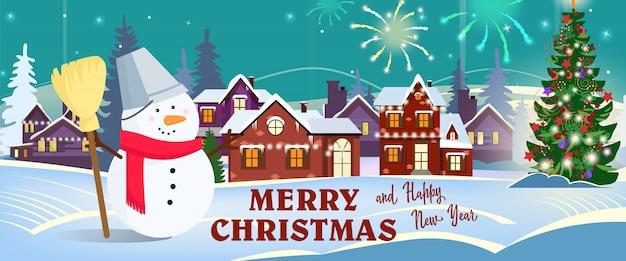 Vrolijke kerstmis en gelukkig nieuwjaar bannerontwerp