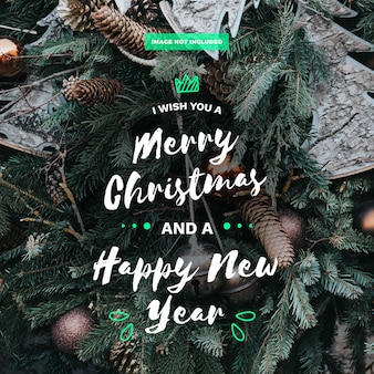 Vrolijke kerstmis en gelukkig nieuwjaar belettering met foto
