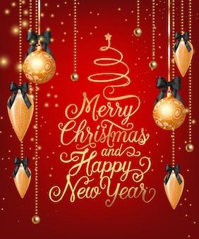 Vrolijke kerstmis en gelukkig nieuwjaar belettering met kerstballen