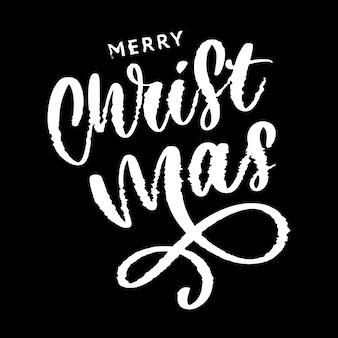 Vrolijke kerstmis en gelukkig nieuwjaar belettering