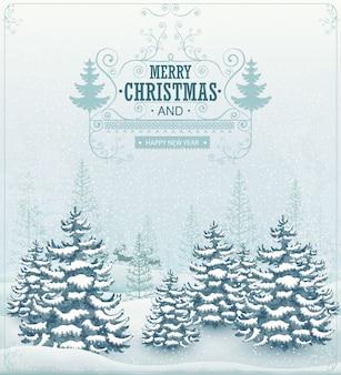 Vrolijke kerstmis en gelukkig nieuwjaar bos winterlandschap met sneeuwval en sparren vintage illustratie