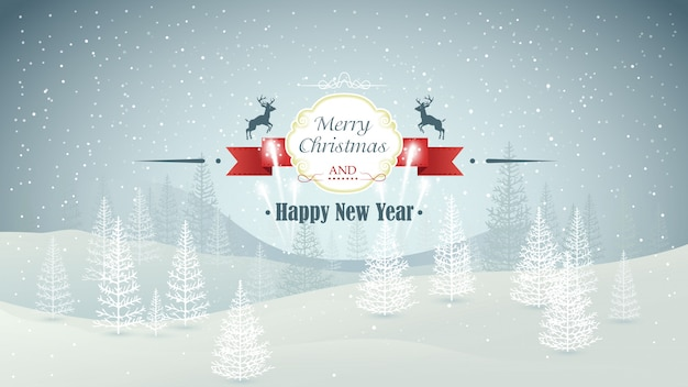 Vrolijke kerstmis en gelukkig nieuwjaar bos winterlandschap met sneeuwval en vuurwerk illustratie