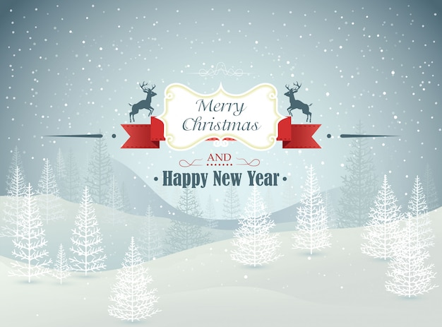 Vrolijke kerstmis en gelukkig nieuwjaar bos winterlandschap met sneeuwval illustratie