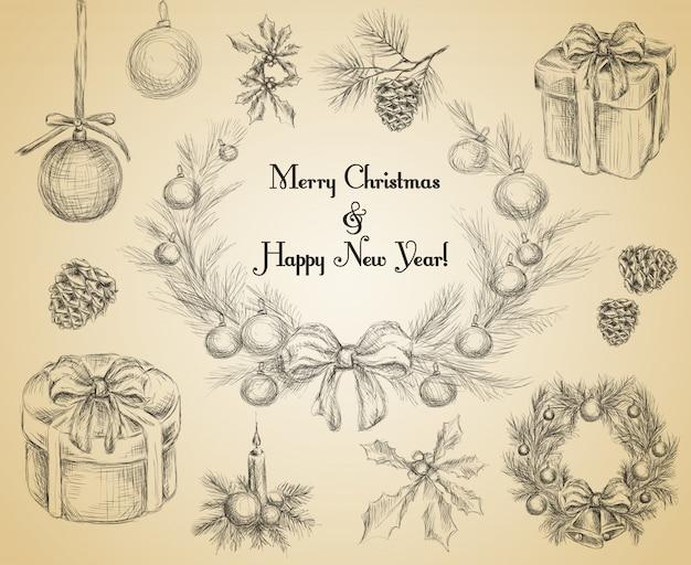 Vrolijke kerstmis en gelukkig nieuwjaar decoratie schets