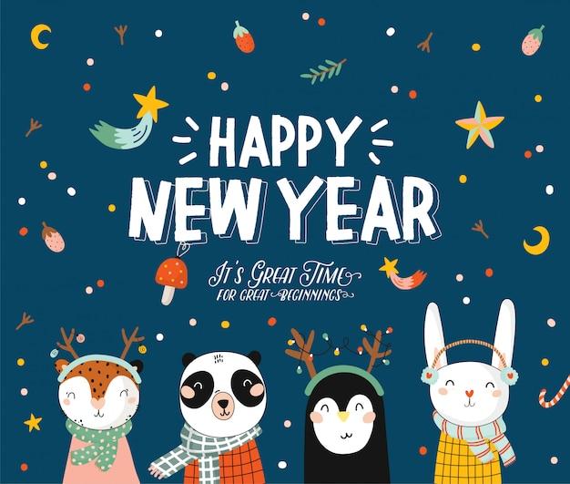 Vrolijke kerstmis en gelukkig nieuwjaar dierenkaart met vakantie belettering en traditionele kerst elementen. leuke illustratie van grappige dieren in skandinavische stijl. . blauwe backround