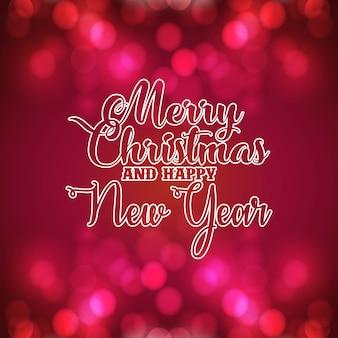 Vrolijke kerstmis en gelukkig nieuwjaar gloeiende achtergrond