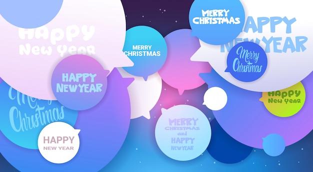 Vrolijke kerstmis en gelukkig nieuwjaar groet berichten op chat bubble achtergrond winter vakantie poster