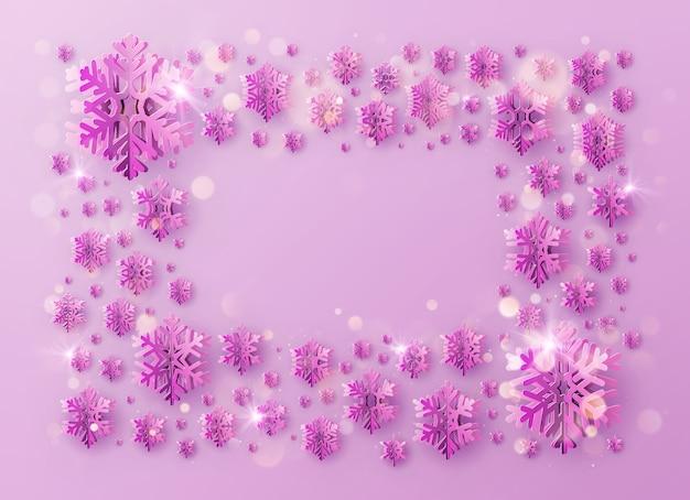 Vrolijke kerstmis en gelukkig nieuwjaar groet sjabloon frame met folie sneeuwvlokken voor vakantie posters, posters, spandoeken, flyers en brochures.