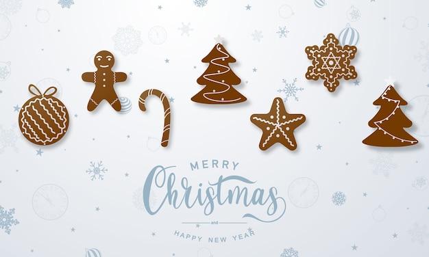 Vrolijke kerstmis en gelukkig nieuwjaar illustratie met peperkoekkoekjes