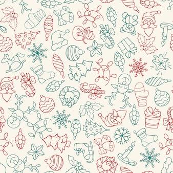 Vrolijke kerstmis en gelukkig nieuwjaar naadloze patroon met pictogrammen.