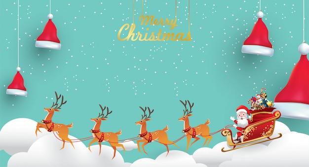 Vrolijke kerstmis en gelukkig nieuwjaar. santa claus is ritten rendieren slee met een zak