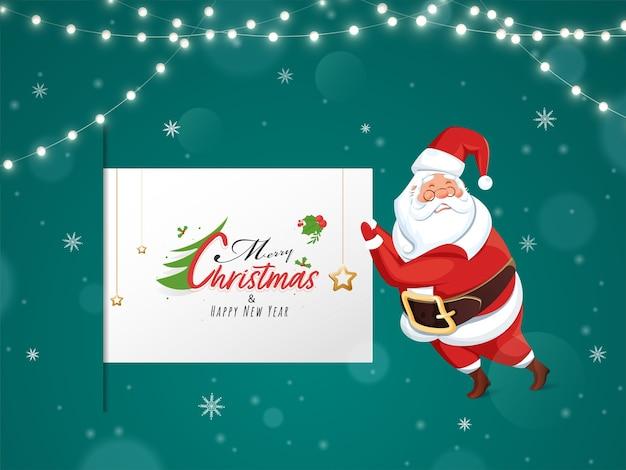 Vrolijke kerstmis en gelukkig nieuwjaar scroll sjabloon met santa claus stripfiguur