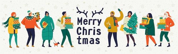 Vrolijke kerstmis en gelukkig nieuwjaar vector wenskaart met winterspelen en mensen.