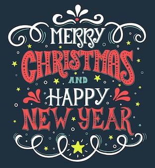 Vrolijke kerstmis en gelukkig nieuwjaar vintage kalligrafie. handgeschreven letters.