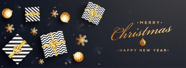 Vrolijke kerstmis en gelukkig nieuwjaar website banner.