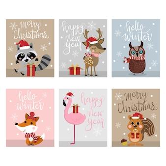 Vrolijke kerstmis en gelukkig nieuwjaar wenskaart 2019