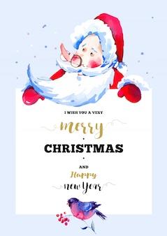 Vrolijke kerstmis en gelukkig nieuwjaar wenskaart met illustratie van de kerstman